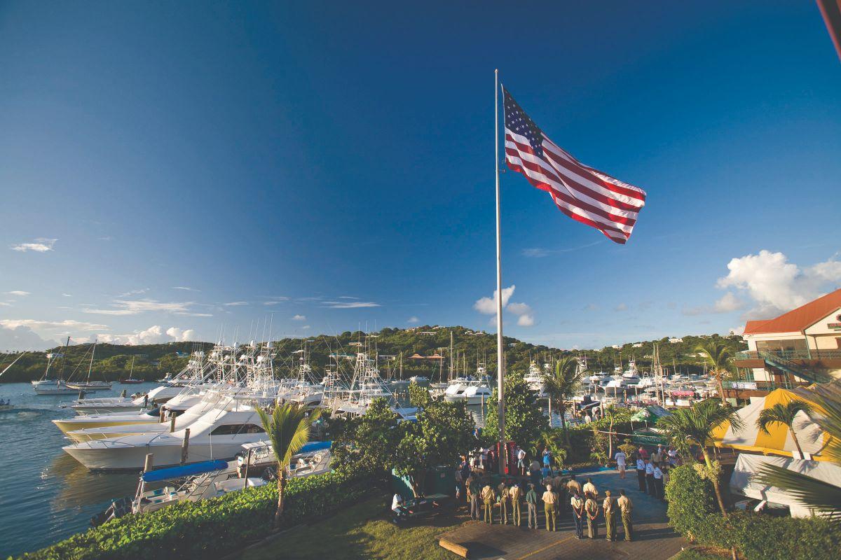 01-American Yacht Harbor-St Thomas Marina -Flag Ceremony