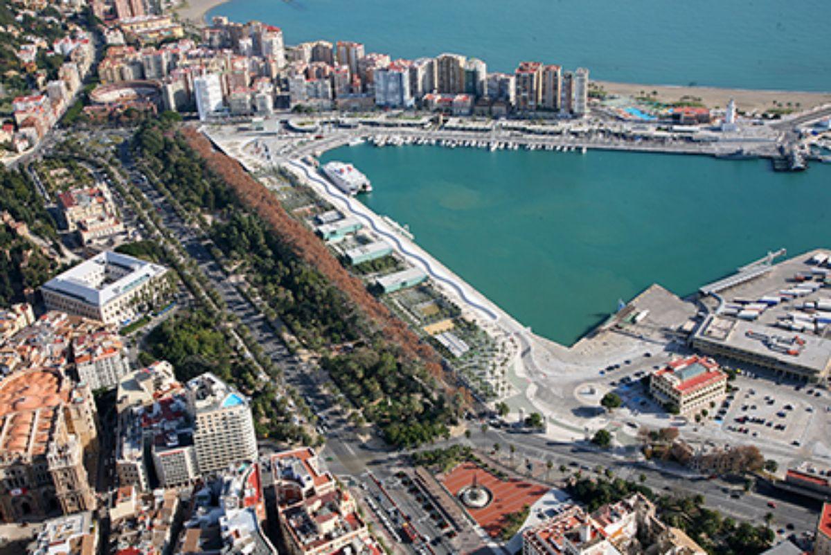 2020- IGY Malaga Marina in Spain Aerial Overvire of Marina and City (1)