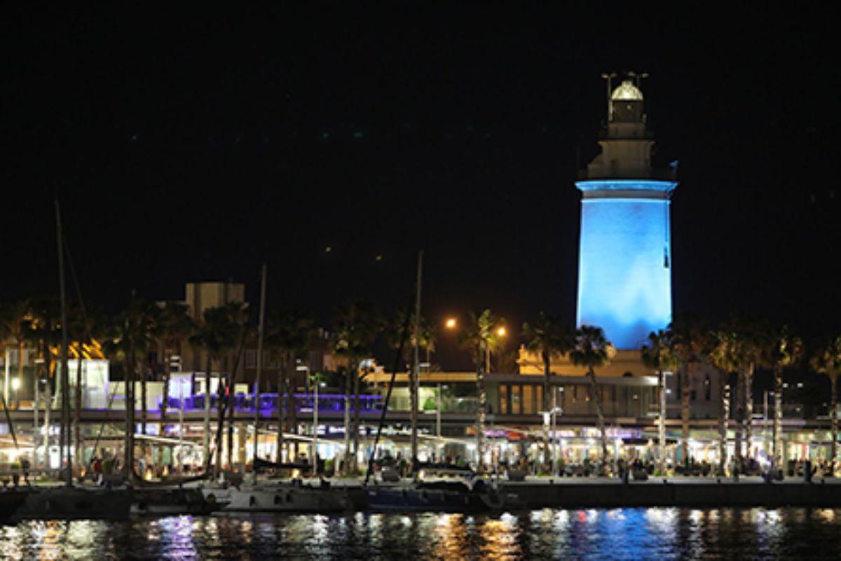 2020-IGY Malaga Marina in Spain Lighthouse at Night