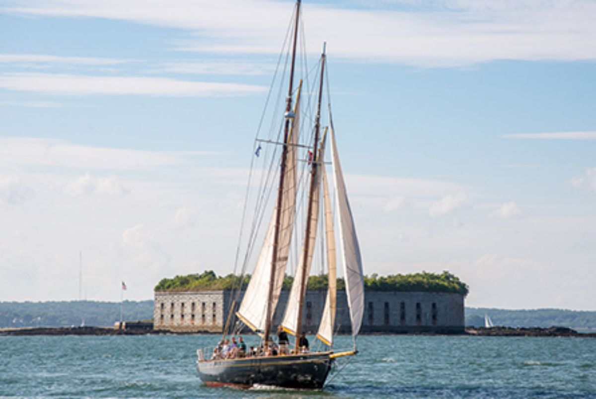 Fore Points Marina By Corey Templeton The Schooner Bagheera in Front of Fort Gorges_0 (1)
