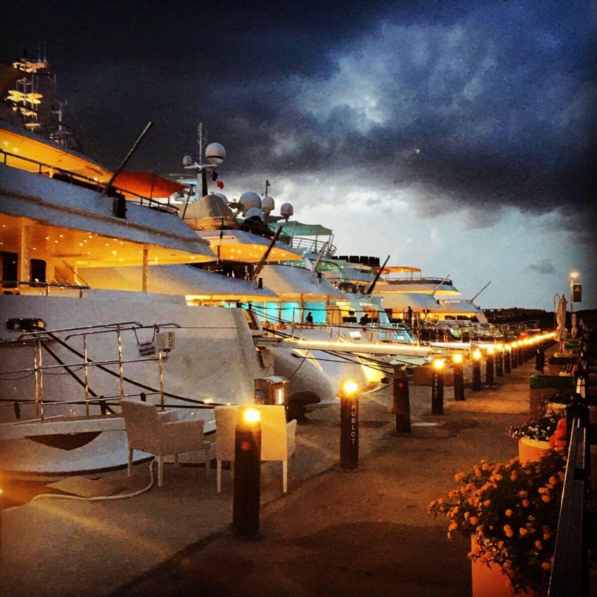 Porto Cervo Marina - Sardinia Italy Mediterranean Marina - Dock at Night - 1.03MB